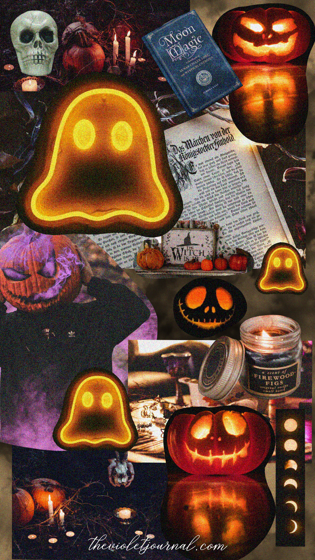 spooky collage iphone wallpaper for halloween