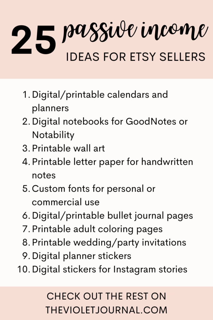 passive income ideas etsy