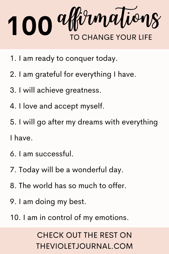 positive affirmations to change your life