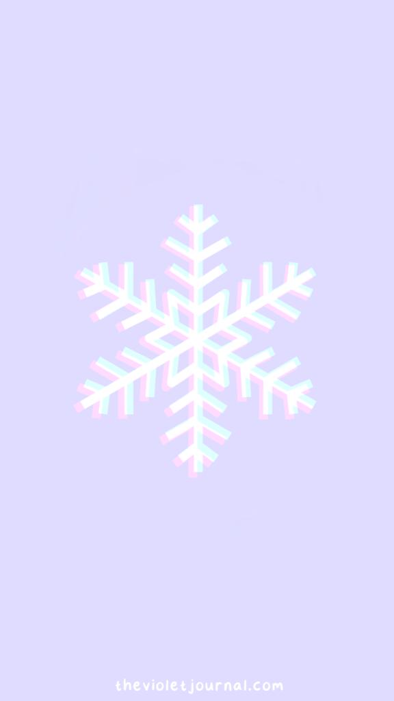 Purple Aesthetic Christmas Wallpaper with Snowflake