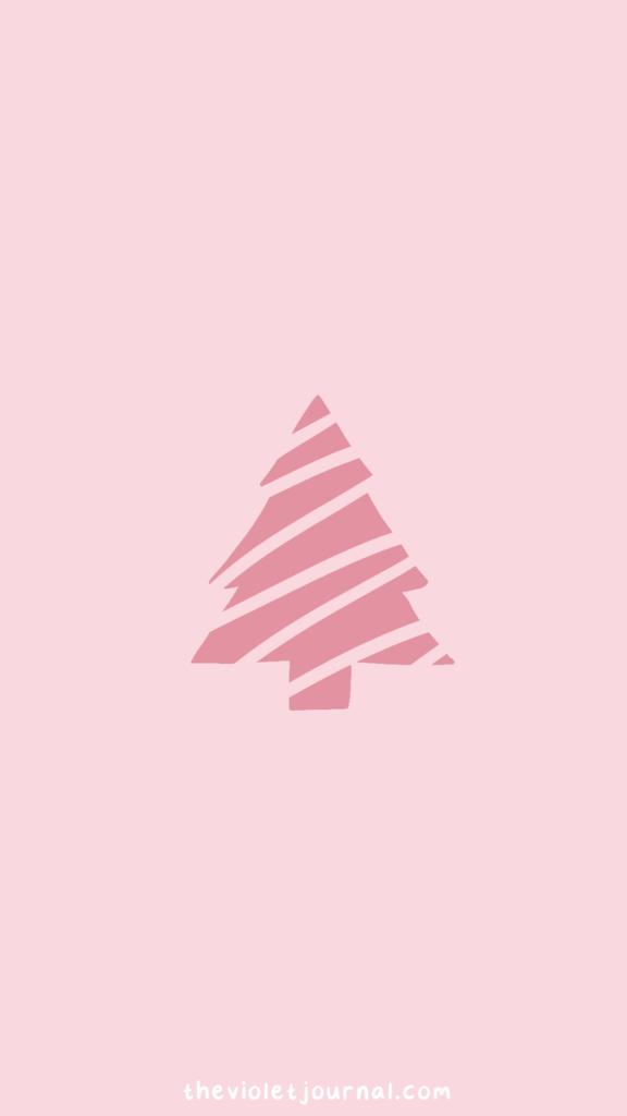 pink christmas tree winter wallpaper