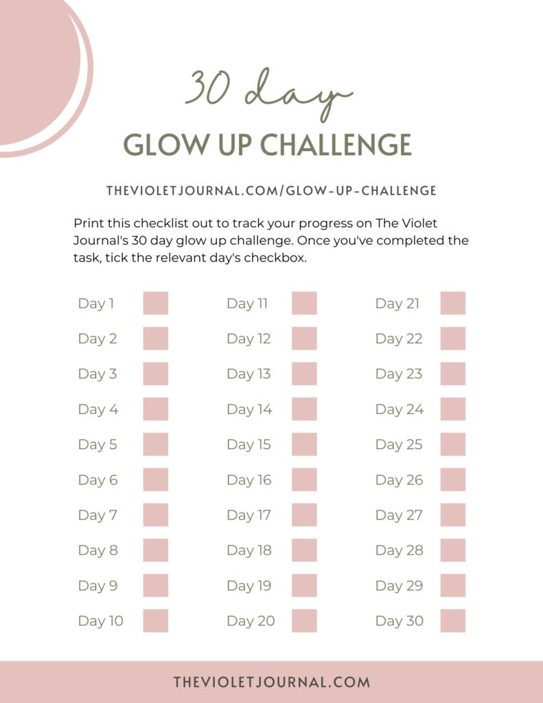 30 Day Glow Up Challenge Tracker