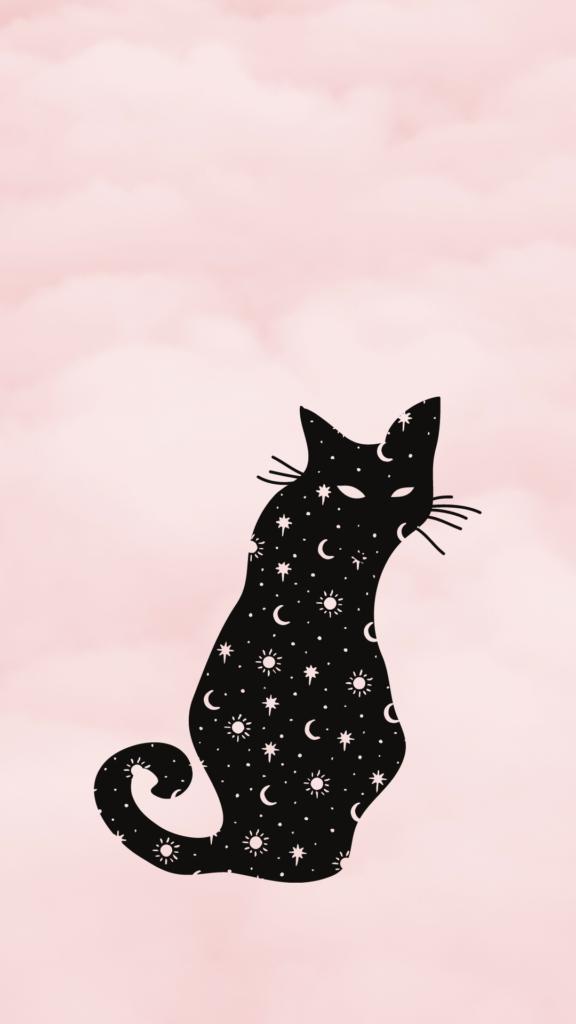 black cat celestial wallpaper