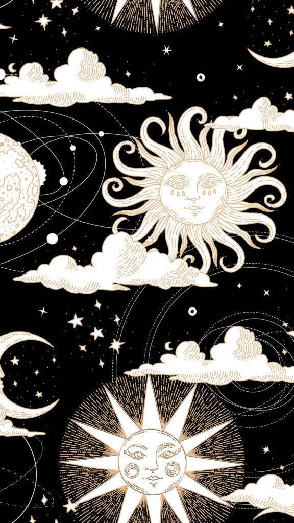 illustrated celestial wallpaper