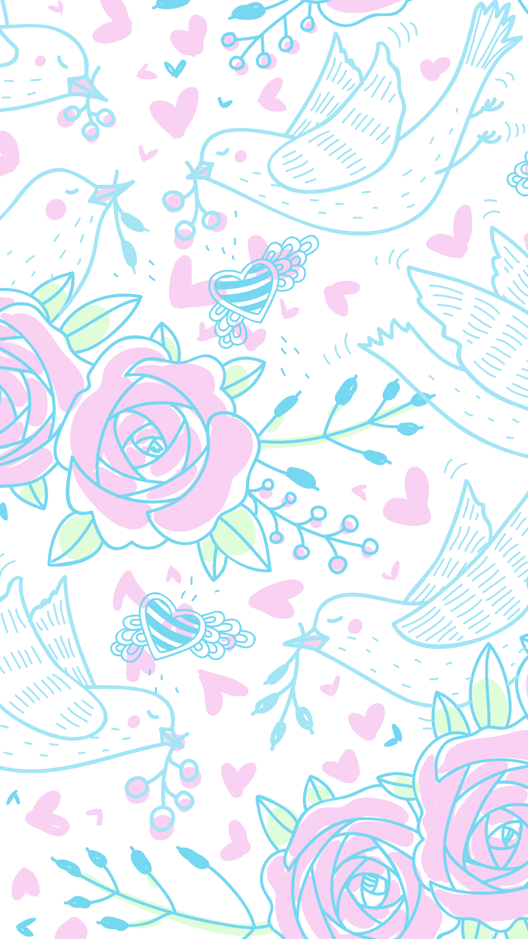 cute pink and blue springtime wallpaper